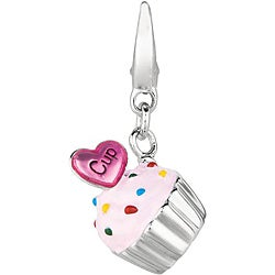 Sterling Silver Cupcake with Heart Charm