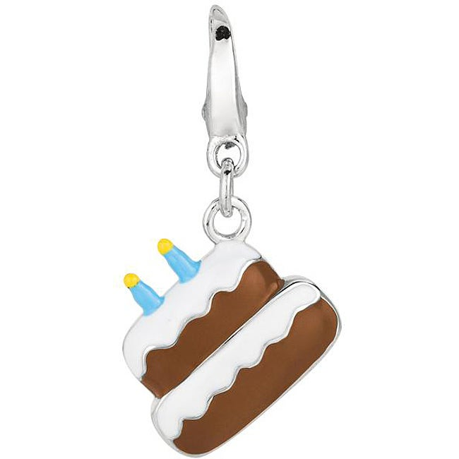Polished Sterling-silver Birthday Cake Charm with Clip-on Clasp