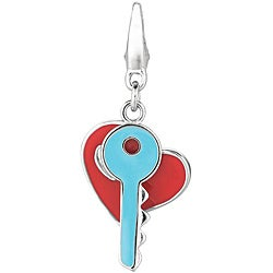 Sterling Silver Heart and Key Charm