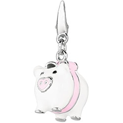 Sterling Silver Pig with Bow Charm