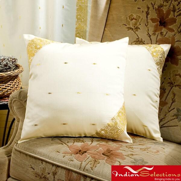 Set of Two Sari Fabric Cream Decorative Pillow Covers (India)