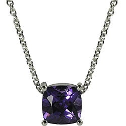 Gems For You Sterling Silver Cushion-Cut Amethyst Necklace