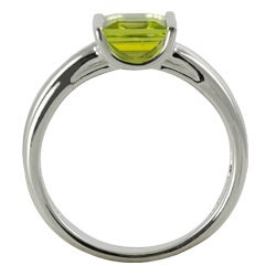 Gems For You Sterling Silver Princess-Cut Peridot Ring - Thumbnail 1