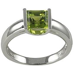 Gems For You Sterling Silver Princess-Cut Peridot Ring - Thumbnail 0