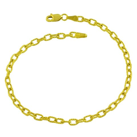 Fremada 14k Yellow Gold Solid 3 millimeters Textured Charm Bracelet (7.5 inches)