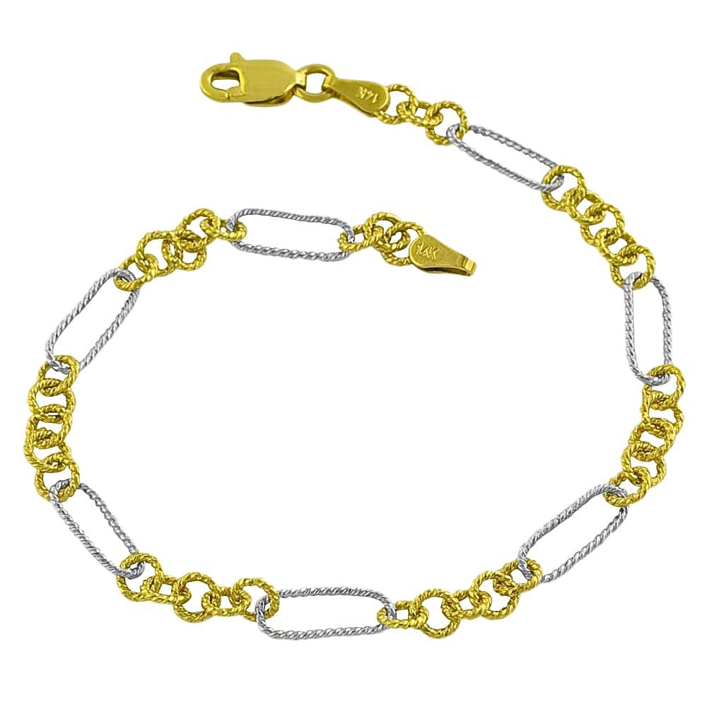 Fremada 14k Two-tone Gold 7.5-inch Textured Link Bracelet