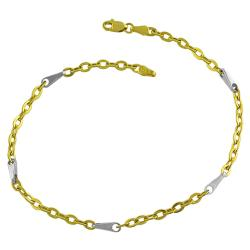 Fremada 14k Two-tone Gold 9-inch Flat Link Pinsetta Stations Anklet