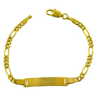 Fremada 14k Yellow Gold Concave Figaro Baby ID Bracelet|https://ak1.ostkcdn.com/images/products/6045025/P13723456.jpg?impolicy=medium