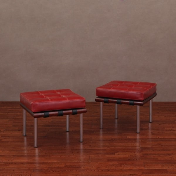 Andalucia Burnt Red Leather Ottomans (Set of 2)