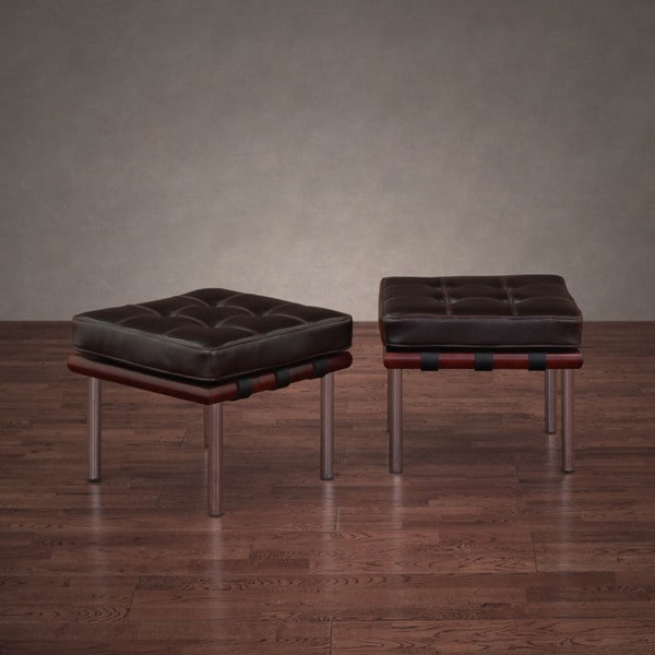 Andalucia Dark Brown Leather Ottomans (Set of 2)