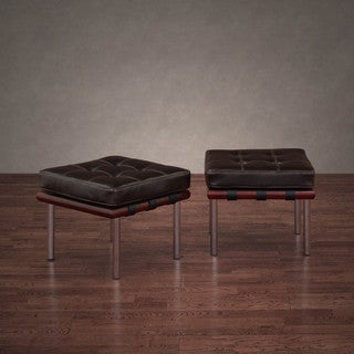 Oliver & James Andalucia Dark Brown Leather Ottomans (Set of 2)