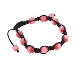 La Preciosa Pink Cat Eye Bead Macrame Bracelet