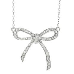 Journee Collection Silvertone Pave-set CZ Bow Necklace