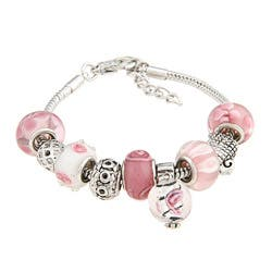 La Preciosa Glass Pink and White Bead Charm Bracelet|https://ak1.ostkcdn.com/images/products/6045119/La-Preciosa-Glass-Pink-and-White-Bead-Charm-Bracelet-P13723529.jpg?impolicy=medium