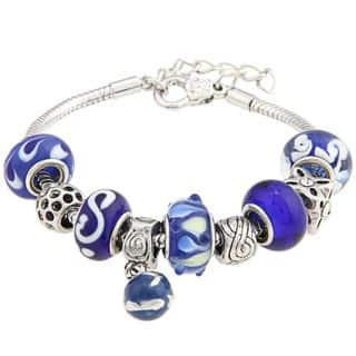 La Preciosa Snake-chain Polished-brass Blue Glass-bead Charm Bracelet|https://ak1.ostkcdn.com/images/products/6045123/6045123/La-Preciosa-Snake-chain-Polished-brass-Blue-Glass-bead-Charm-Bracelet-P13723542.jpg?impolicy=medium