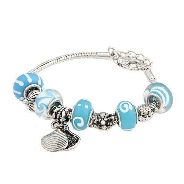 La Preciosa Glass Teal Bead and Polished Silver Charm Bracelet