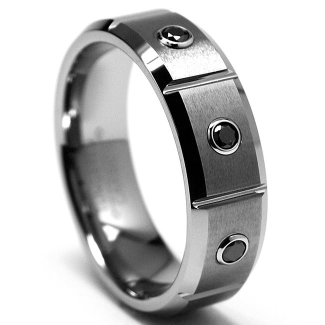 Tungsten Carbide Men's 1/5ct TDW Black Diamond Grooved Ring - Thumbnail 0