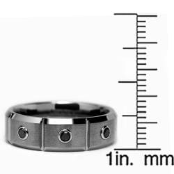 Tungsten Carbide Men's 1/5ct TDW Black Diamond Grooved Ring - Thumbnail 2