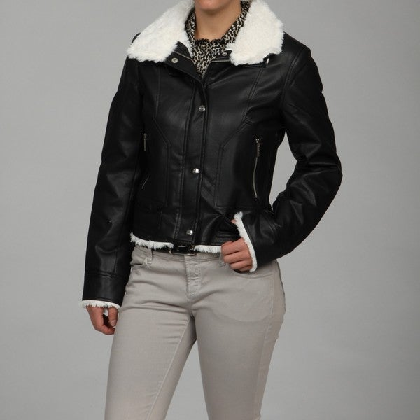 Honee Women's Black Faux-fur Lined Scuba Jacket