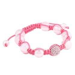 La Preciosa Pink Crystal Bead Macrame Bracelet