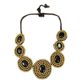 Handmade Cotton Rope Eye-catcher Black Onyx and Brass Bead Necklace (Thailand)