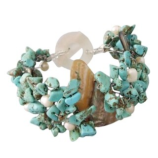 Handmade Abalone/Turquoise/Pearl Cluster Toggle Bracelet (5-8 mm) (Philippines)