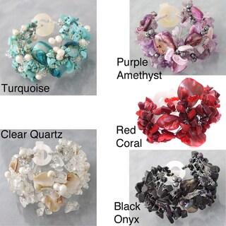 Handmade Turquoise/ Pearl/ Shell Hidden Flower Bracelet (Philippines)