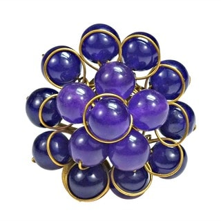 Brass Bubble Dome Purple Cluster Amethyst Ring (Thailand)