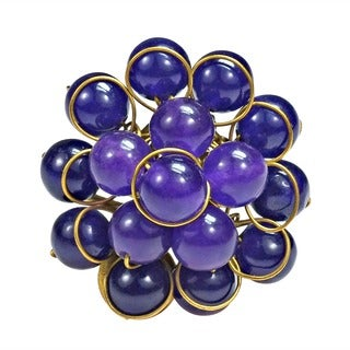 Handmade Brass Purple Cluster Amethyst Ring (Thailand)