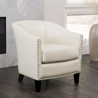 Austin Ivory Bonded Leather Club Chair by Christopher Knight Home