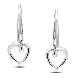 Miadora 10k White Gold Diamond Accent Heart Earrings