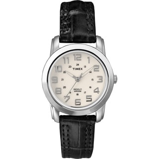 Timex Women's T2N435 Elevated Classics Sport Chic Black Leather Strap Watch