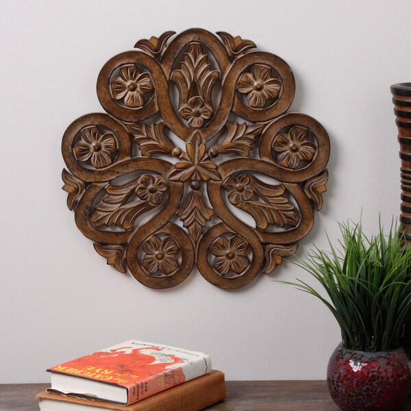 Wood Carved Poppy Wall Panel (India)