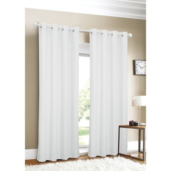 Luxury Linen Grommet Top 96 Inch White Curtain Panel