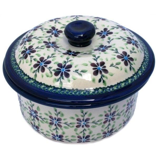 Handmade Polish Stoneware Five-cup Lidded Floral Casserole (Poland)
