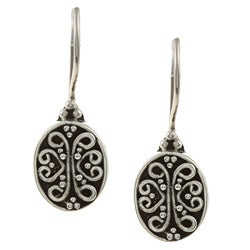 Kabella Lily B Sterling Silver Antiqued Swirl Medallion Earrings