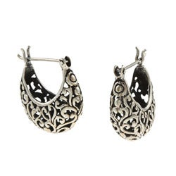 Kabella Lily B Sterling Silver Heart Vine Design Earrings