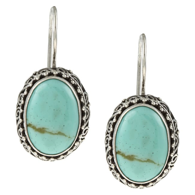 Kabella Lily B Sterling Silver Synthetic Turquoise Beaded Swirl Earrings