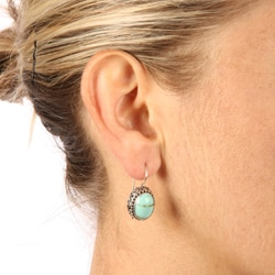 Kabella Lily B Sterling Silver Synthetic Turquoise Beaded Swirl Earrings - Thumbnail 2