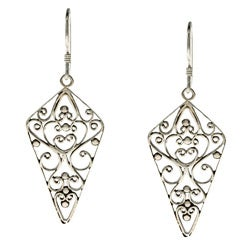Kabella Lily B Sterling Silver Antiqued Dagger and Heart Earrings