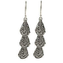 Kabella Lily B Sterling Silver Beaded Swirl Shell-shape Earrings