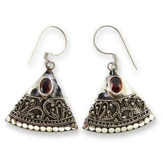 Kabella Lily B Sterling Silver Garnet Fan Earrings