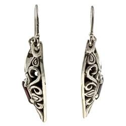 Kabella Lily B Sterling Silver Garnet Antiqued Heart Earrings