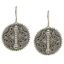 Kabella Lily B Sterling Silver Antiqued Spiral Circle Earrings