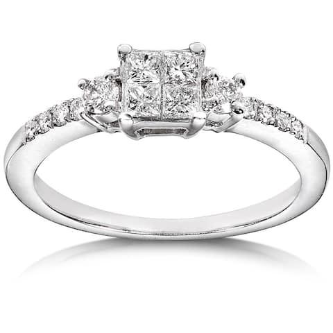 Annello by Kobelli 14k White Gold 3/8ct TDW Diamond Engagement Ring