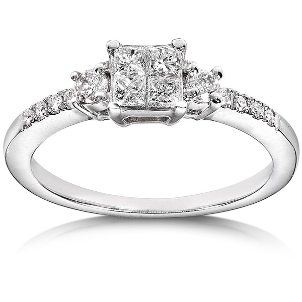 Annello by Kobelli 14k White Gold 3/8ct TDW Diamond Engagement Ring (H-I, I1-I2)