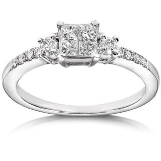 Annello by Kobelli 14k White Gold 3/8ct TDW Diamond Engagement Ring|https://ak1.ostkcdn.com/images/products/6045498/P13723832.jpg?impolicy=medium