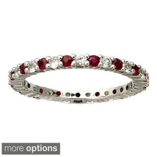 Beverly Hills Charm 10k Gold Genuine Sapphire, Ruby and Emerlad Stackable Eternity Band Ring