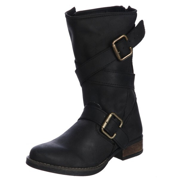 db481058e Shop Steven by Steve Madden Women s  P-Pace  Belted Motorcycle Boots ...