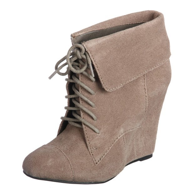 Steven by Steve Madden Women's 'P-Darah' Fold-over Lace-up Wedge Booties FINAL SALE. Opens flyout.